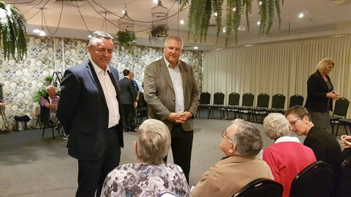 Trevor Ruthenberg has continued on the campaign trail with Veterans Affairs Minister Darren Chester in Bongaree. Picture: Facebook