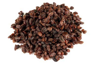 Dried grapes (aka sultanas or raisins): 59.2g sugar per 100g