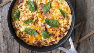 "Recipe: <a href=""http://kitchen.nine.com.au/2017/03/22/09/35/bacon-caramelised-pumpkin-and-feta-frittata"" target=""_top"" draggable=""false"">Bacon, caramelised pumpkin and feta frittata with green salad</a>"