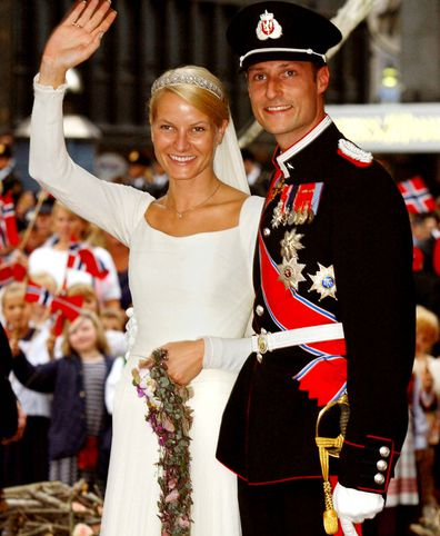 Prince Haakon and Princess Mette-Marit on their wedding day, 2001.