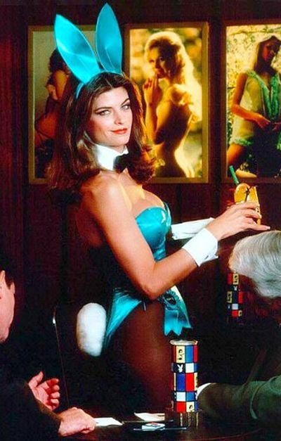 Kirstie Alley, as Gloria Steinem, as a Playboy Bunny
