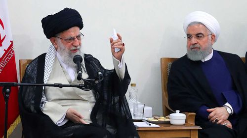 Iran's Supreme Leader Ayatollah Ali Khamenei speaking alongside Iran's President Hassan Rouhani last week.
