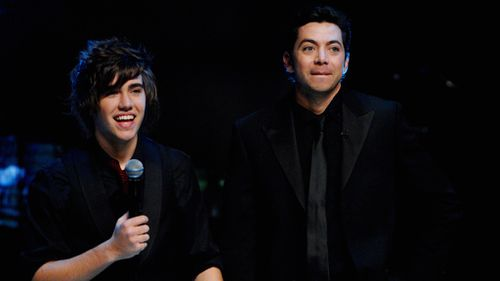 James Mathison and Matt Corby at the Australian Idol grand final in 2007. (AAP)