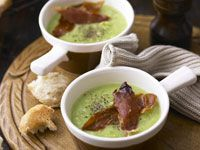 Pea soup with crisp prosciutto