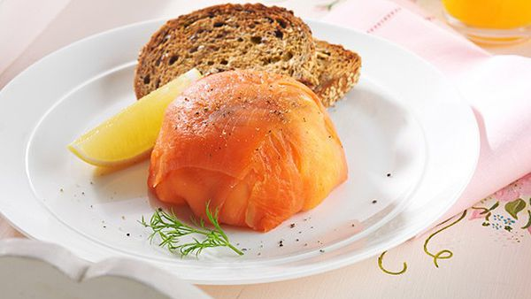 Smoked salmon and scrambled egg parcel