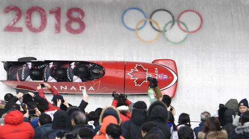 Spring competed in the opening heats of the Men's 4-man Bobsleigh today. (AAP)