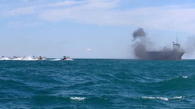 The target was reportedly a full-size replica of the USS Nimitz. (AFP)