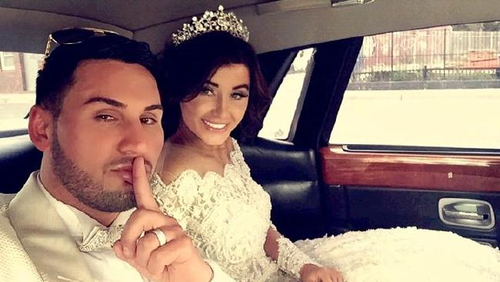 Salim and Aysha on their wedding day in 2015 when a whole street was shut down in Lidcombe. Picture: AAP