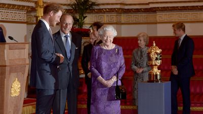 The stars of the Rugby World Cup have been hosted by the Royal Family at Buckingham Palace, a sombre affair after the host nation's dismal showing at home.<br><br>Queen Elizabeth II and keen rugby fan Prince Harry met players and coaches from competing nations ahead of the upcoming quarter-finals.  <br><br><strong>Click through to highlights from the meeting.</strong>