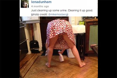 <i>Girls</i> creator and on-screen nude-enthusiast, Lena Dunham, loves to document every hilarious moment of her life with her 600K Instagram followers. The actress shared this particularly memorable crotch-shot of herself cleaning up urine from the kitchen floor!<br/><br/><i>Image: Instagram @lenadunham</i>