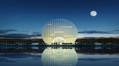 The bizarre round hotel is 97m-high, with 21 floors and 306 guestrooms and suites, reports CNN. It sits on the shore of Yanqi Lake, about 60km from Beijing's city centre