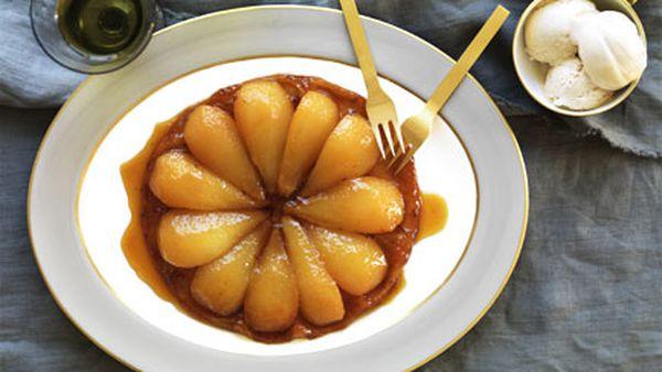 Honeyed pear tarte Tatin with burnt honey ice-cream