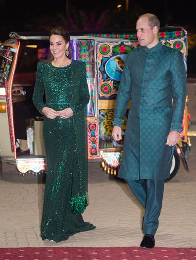 Kate Middleton, Duchess of Cambridge and Prince William, Duke of Cambridge attend a special reception hosted by the British High Commissioner Thomas Drew, at the Pakistan National Monument, during day two of their royal tour of Pakistan on October 15, 2019 in Islamabad, Pakistan