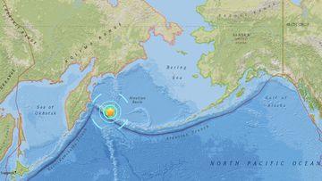 The earthquake struck near the far western tip of Alaska. (USGS)