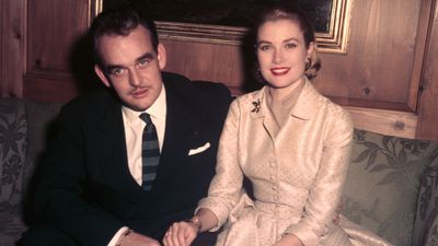 Grace Kelly and Prince Rainier after their engagement, 1956
