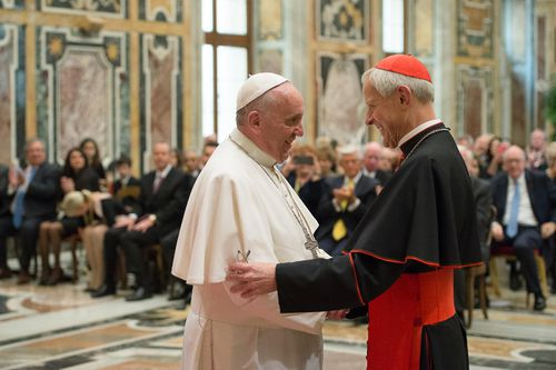 Pope Francis greeting Cardinal Donald Wuerl in the Vatican in 2010. Picture: AP