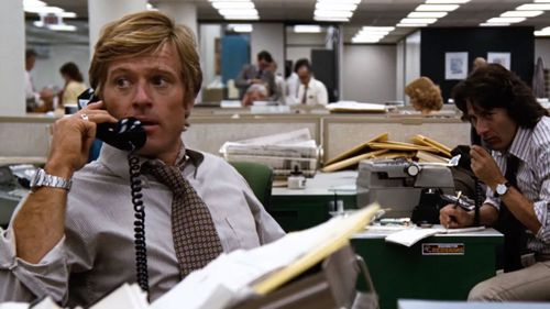 Robert Redford playing Bob Woodward in 'All The President's Men'.