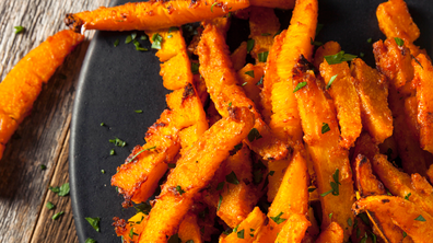 Pumpkin fries with tomato sauce