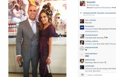 Carlton FC player Chris Judd and wife Rebecca Judd at the Lavazza tent.<br/><br/>Image: Instagram