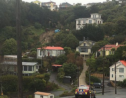 The landslide at a suburban street in Dunedin. About 12 properties were evacuated on Saturday. (Photo: Keith Kelsall).