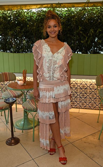 Singer Izzy Bizu in Zimmermann, celebrating the launch of Zimmermann's London flagship store in Mayfair at the private members' club 5 Hertford St, London.