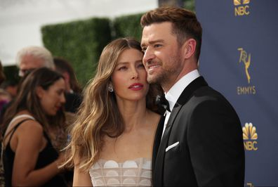 Jessica Biel and Justin Timberlake attend the Emmy Awards in 2018.