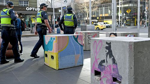 Some of the temporary concrete bollards in Melbourne CBD. (Photo: AAP).