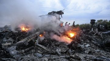 The wreck of the crashed MH17 flight.