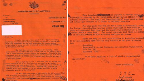Government correspondence from 1966 about the incident in Westall. (Supplied)