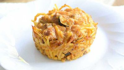 """Recipe:&nbsp;<a href=""""http://kitchen.nine.com.au/2017/07/10/18/13/spaghetti-bolognese-leftovers-muffins"""" target=""""_top"""">Spaghetti Bolognese leftovers muffins</a>"""