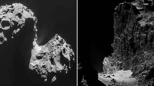 Rosetta images capture comet's terrifyingly rugged landscape