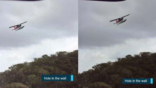 Photos shot by a witness seeing the seaplane banking over the Hawkesbury River.