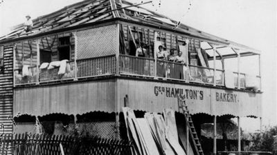 Two category five storms hit Queensland in early 1918, with the first sweeping through Mackay in January. The storm killed 30 people and severed all communication with the rest of the country, leading to speculation the town had been completely destroyed. (Supplied)