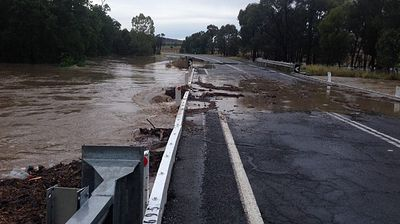 Flood waters have washed away part of a Rockhampton roadway.