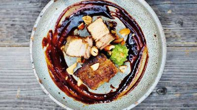 """Recipe:&nbsp;<a href=""""http://kitchen.nine.com.au/2017/08/10/18/10/slow-cooked-barbecued-pork-belly-with-red-miso-sauce"""" target=""""_top"""" draggable=""""false"""">Slow-cooked barbecued pork belly with red miso sauce</a>"""