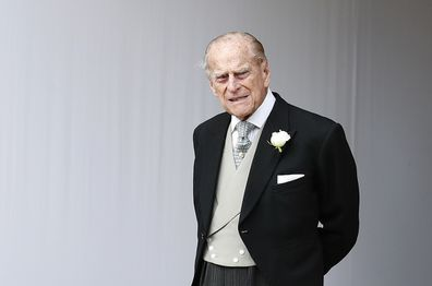 Prince Philip waits for the bridal procession following the wedding of Princess Eugenie in 2019.