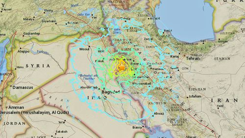 The magnitude-7.3 earthquake was felt in Israel and Turkey over 1,000km away. (US Geological Survey)