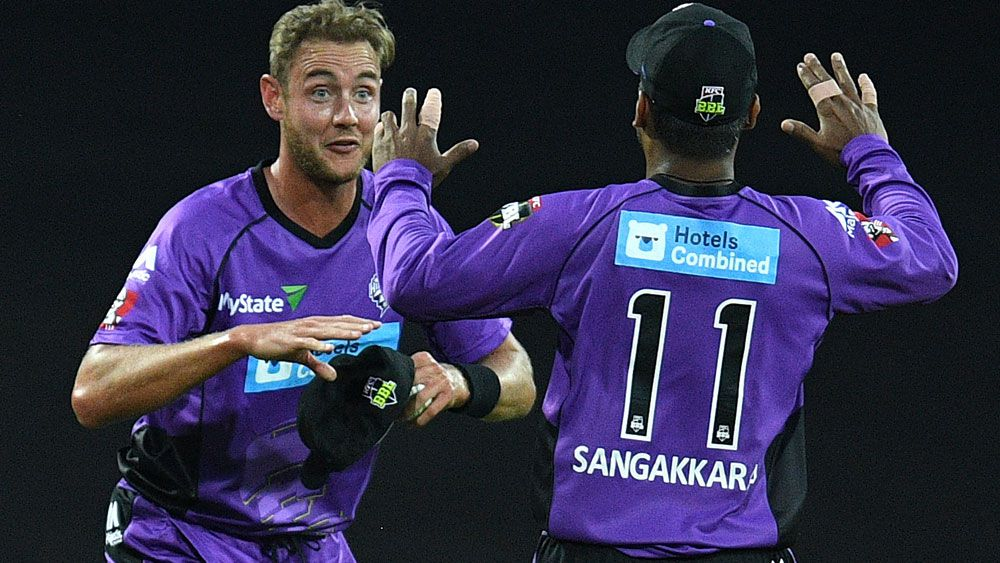 English Stuart Broad in action for the Hurricanes. (AAP)