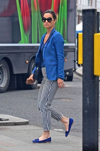 Pippa Middleton Matthews in gingham pants from J.Crew in London, June 2018