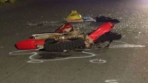 The boy's motorbike was crushed in the deadly crash. (9NEWS)