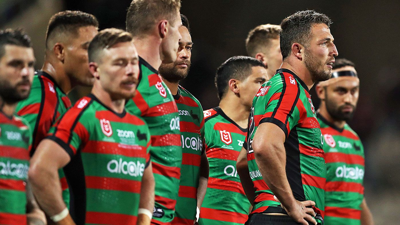 South Sydney players look dejected after being defeated by Canberra