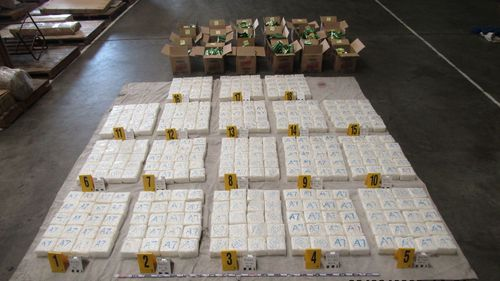 Federal police find 360kg of drug ice in Melbourne furniture container sent from Malaysia