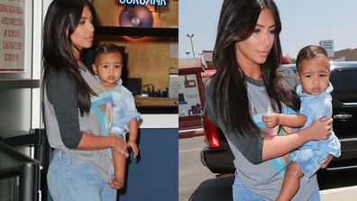 Kim Kardashian and daughter North West were spotted at the Bob Hope airport on their way to San Francisco. <br/><br/>Mum and bub looked casual in denim but we couldn't help but notice the one-year-old's slick new 'do. <br/><br/>Keep scrolling to check out more adorable Nori pics...