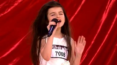 Angelina Jordan Astar is just seven years old, but she wowed Norway's Got Talent with her soulful rendition of 'Gloomy Sunday'. (TV2)