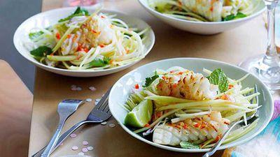 "<a href=""http://kitchen.nine.com.au/2016/05/16/14/43/calamari-and-green-mango-salad"" target=""_top"" draggable=""false"">Calamari and green mango salad</a> recipe"