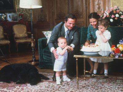 King Carl Gustav and Queen Silvia with their children