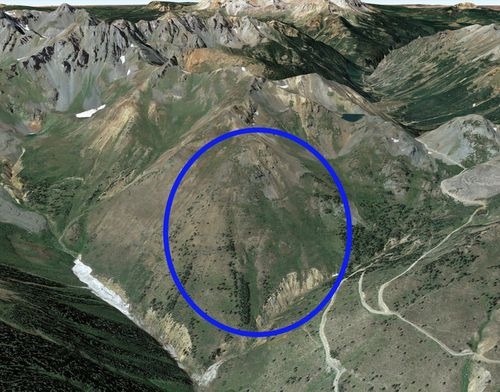 A Google Earth image of the avalanche accident area. The blue oval marks the approximate location of the avalanche.