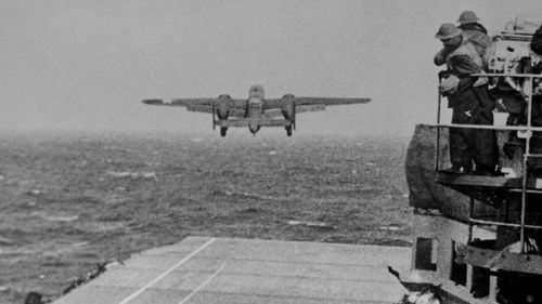 A US bomber takes off from the flight deck of the USS Hornet in the famous Doolittle Raid against Japan.