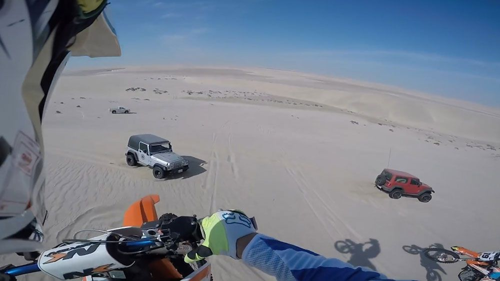 Miracle escape for motocross rider