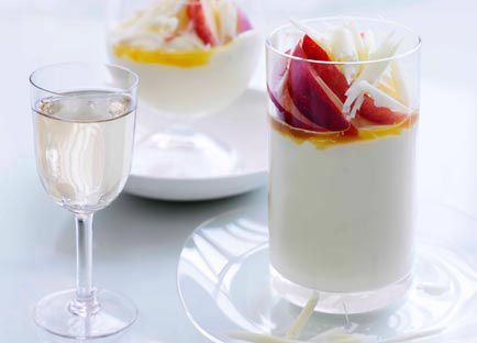 White chocolate and crème fraîche mousse with passionfruit syrup
